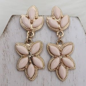 Light Pink Leaf Drop Earrings